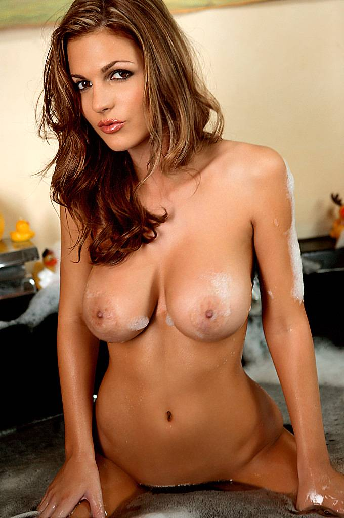 Nude brunette with big boobs